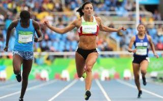 Body inspo- Charlotte Wingfield.   what a hottie!!  Cecilia Bouele of Congo, Charlotte Wingfield of Malta, and Jordan Mageo of American Samoa compete during the women's 100m heats of the Rio 2016 Olympic Games Athletics, Track and Field events at the Olympic Stadium in Rio de Janeiro, Brazil, 12 August 2016