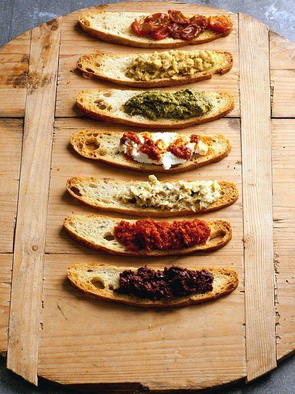 Delectable choices of #Pestos...Basil, Sun-Dried Tomato, Artichoke Lemon & more! #italian #appetizers