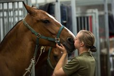 Gunner Christie Farren gives Stumpy the horse a big kiss. King's Troop Royal Horse Artillery took over from the Household Cavalry to provide the Queen's Life Guard at Horse Guards