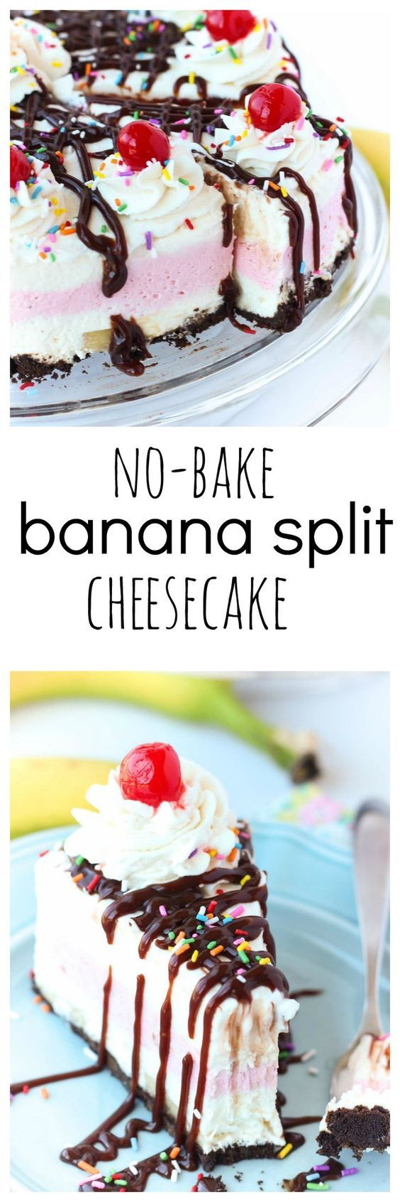 3 fruity cheesecake layers make up this easy No-Bake Banana Split Cheesecake: banana strawberry and pineapple. Finish it off with a drizzle of chocolate whipped cream and cherries for the perfect summer treat! Freezes perfectly to be thawed and served later as well.