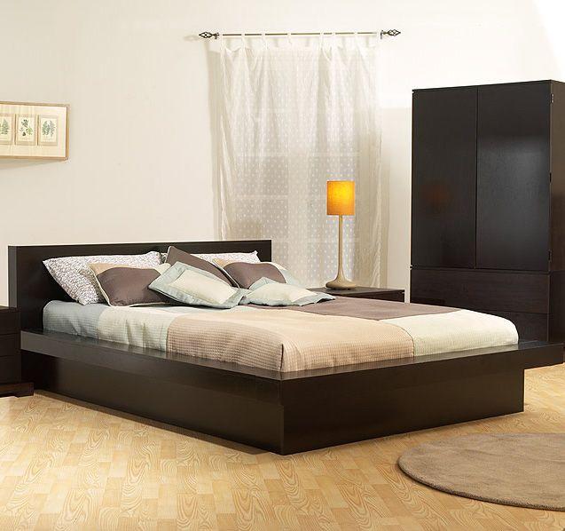 Bedroom: Elegant Black Wood Platform Beds Furniture Design Interior With  Black Wood Cabinet Laminate Wooden