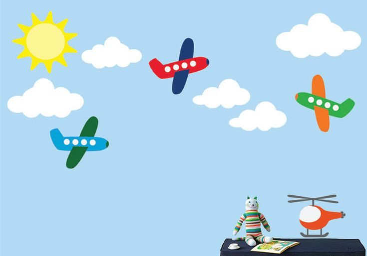 REUSABLE Airplane Wall Decal - Childrens Decals - B604WA. $52.00, via Etsy.