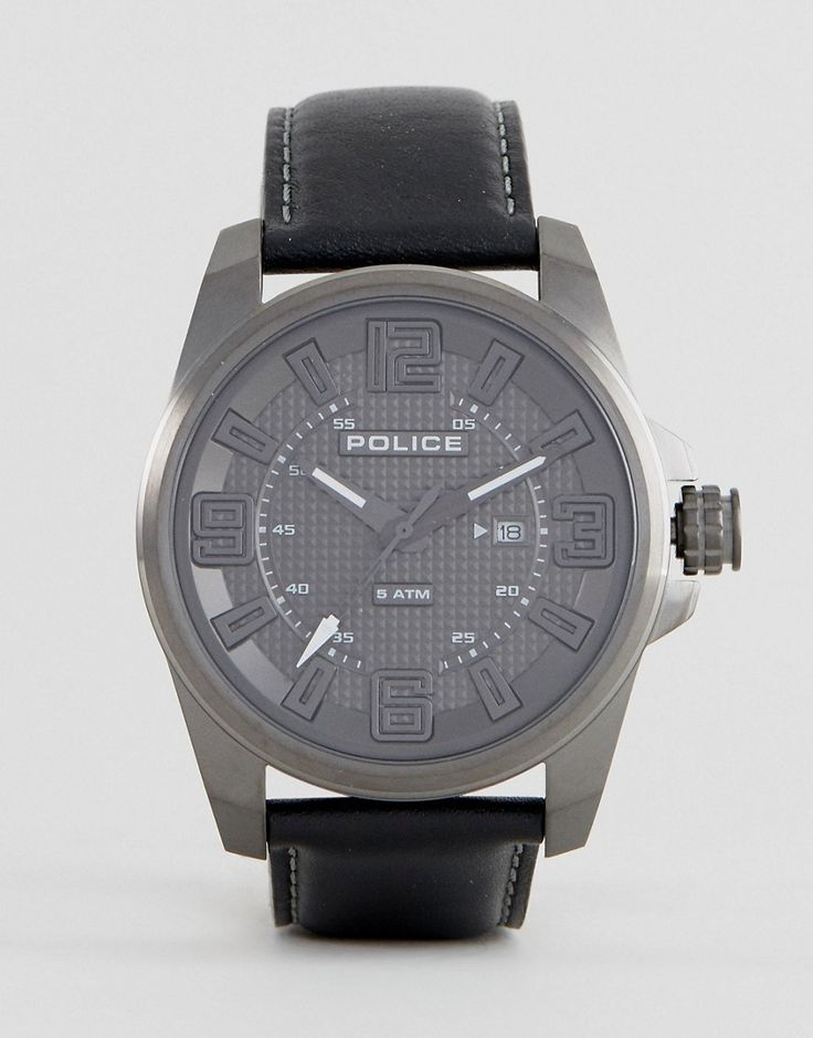 Get this POLICE's watch now! Click for more details. Worldwide shipping. Police Focus Watch In Black - Black: Watch by Police, Real leather strap, Stainless steel case, Three hand movement, Date window, Mixed indices, Single crown to side, Pin-buckle fastening, 5ATM: water resistant to 50 metres (160 feet). (reloj, watches, mini clock, chronograph, chronometer, pulsometer, clock, watch, leather strap, reloj, minirreloj, cronógrafo, cronografos, cronógrafos, cronografo, cronómetro, cronóme...