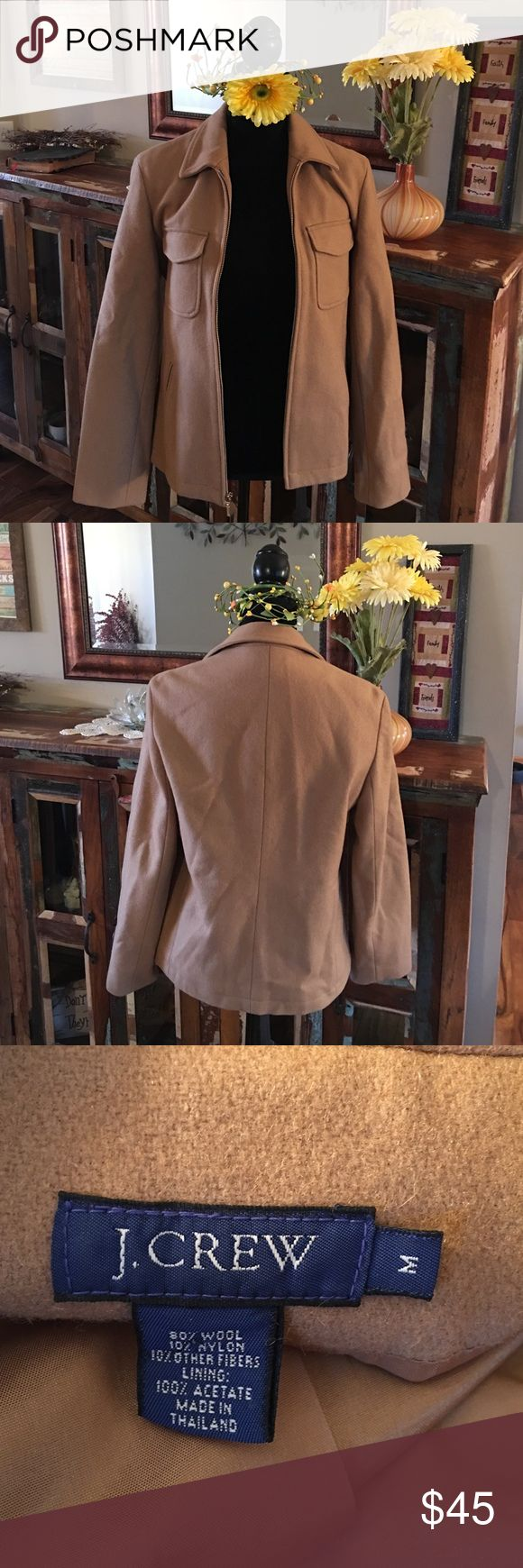 J. Crew Camel Zip Up Jacket Size M This is it - the perfect jacket. This is a camel colorized front zip jacket from J. Crew. Worn only a few times because apparently wool and my skin aren't fond of each other. Excellent condition. Size is medium. J. Crew Jackets & Coats