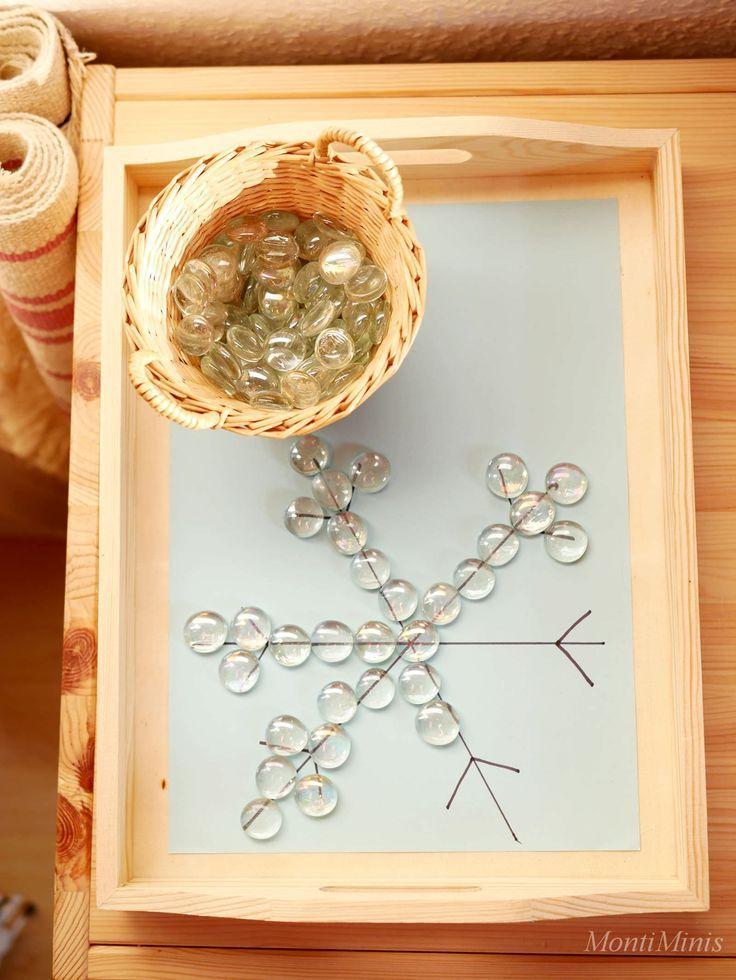 Tablett-Idee – Eiskristalle mit Glasnuggets legen – #Eiskristalle #Glasnuggets #…