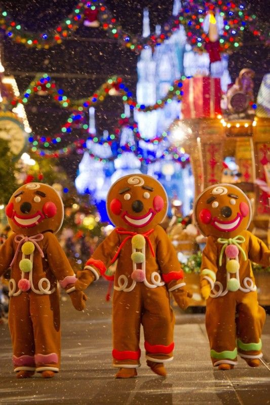 Gingerbreads, biscoitinhos tradicionais do natal amerinaos, também representados na parada.