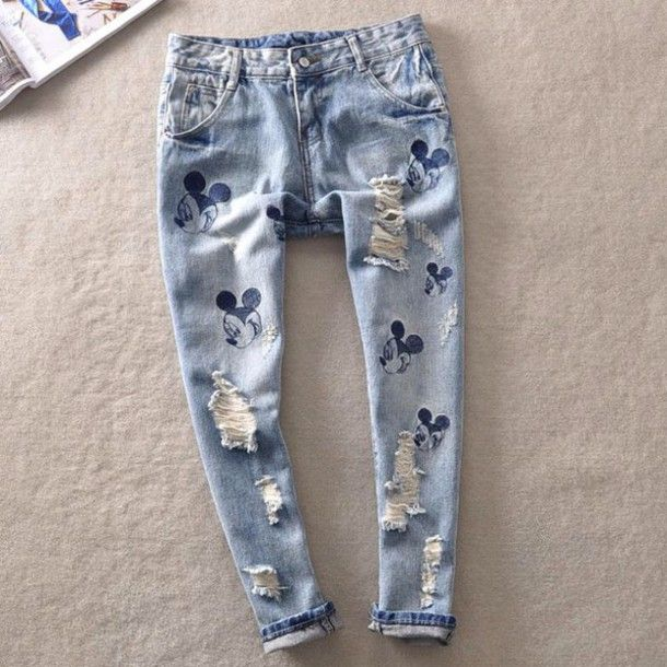 jeans denim disney print mouse donald mickey mouse printed pants skinny pants mom jean cutoffs