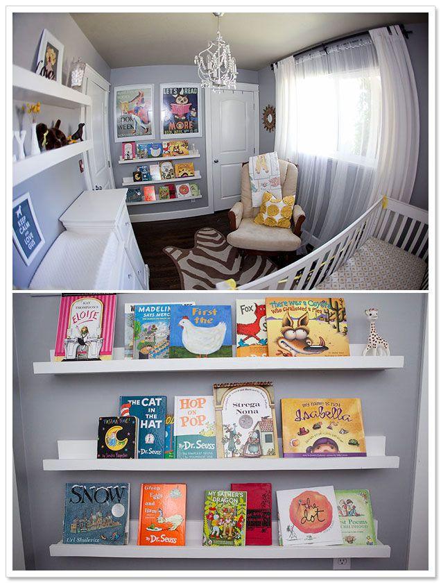 Fantastic nursery with DIY bookshelves by Crissie McDowell