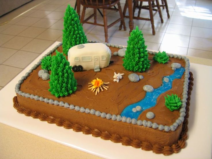 Camping Camping Finally a cake that is my own original idea (I think? : ) All buttercream with sugar cone trees and fondant covered camper, royal...