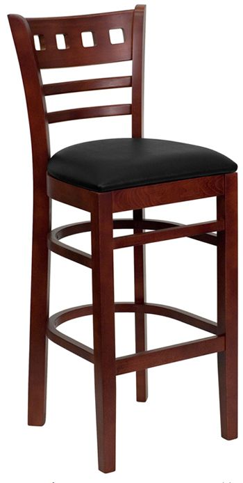 wooden bar stools with backs | Commercial Wood Bar Stool: American Back  Mahogany