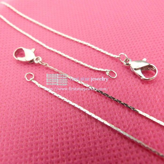 Длина составляет 16  серебряный 0.8 мм крошечные цепи с застежкой омар для стеклянной бутылке ожерелье аксессуары / 41 см