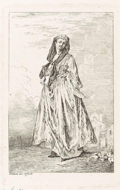 Jean Antoine Watteau | Staande vrouw gekleed volgens de mode van ca. 1710, Jean Antoine Watteau, Simon Henri Thomassin, 1710 - 1738 | Staande dame met sluier, gekleed volgens de Franse mode ca. 1710. Rechtsachter enkele huizen schetsmatig weergegeven. Uit een serie van acht prenten met figuren in verschillende kostuums.