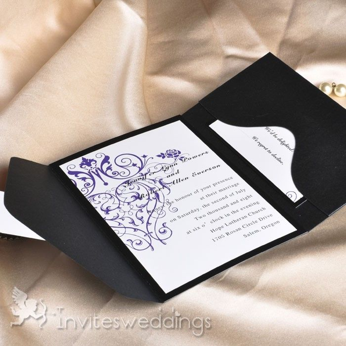 interesting wedding invitation messages%0A Vintage purple chandelier wedding invitations with black pocket