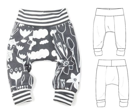 Sewing pattern pdf for baby and toddler big butt pants -Great for cloth diapers! You will need:   Knit fabric for legs and gussets. I like