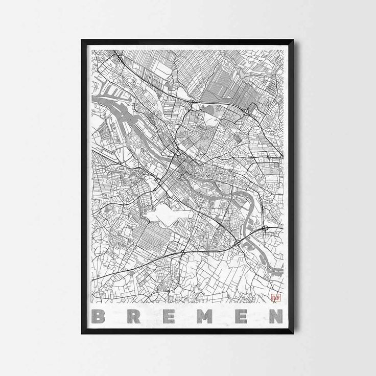 Bremen art prints - Art posters and prints of your favorite city. Unique design of a map. Perfect for your house and office or as a gift