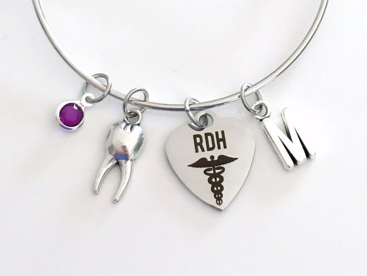 Gift for RDH Jewelry Charm Bracelet Bangle Registered Dental Hygienist present Oral Tooth School Student Silver initial birthstone woman by aJoyfulSurprise on Etsy