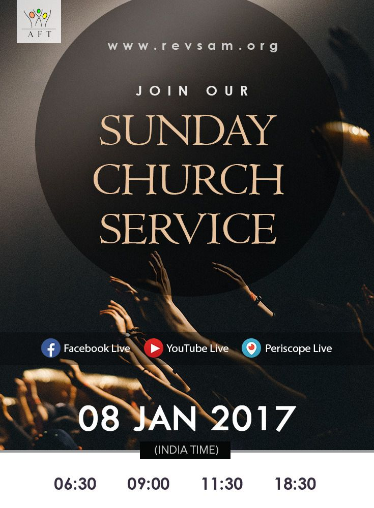 Join our Sunday Church Service LIVE Webcast today! Schedule (India Time): - Tamil Service: 6:30 & 09:00 - English Service: 11:30 - Bilingual Service: 18:30 (English with Tamil translation) Watch Live: http://www.revsam.org/watch-live?utm_source=pinterest&utm_medium=image&utm_campaign=servicepromo-vcfss20170108 Listen Live: http://www.revsam.org/listen-live?utm_source=pinterest&utm_medium=link&utm_campaign=servicepromo-vcfss20170108 Facebook Live : https://www.facebook.com/revsam.org Youtube…