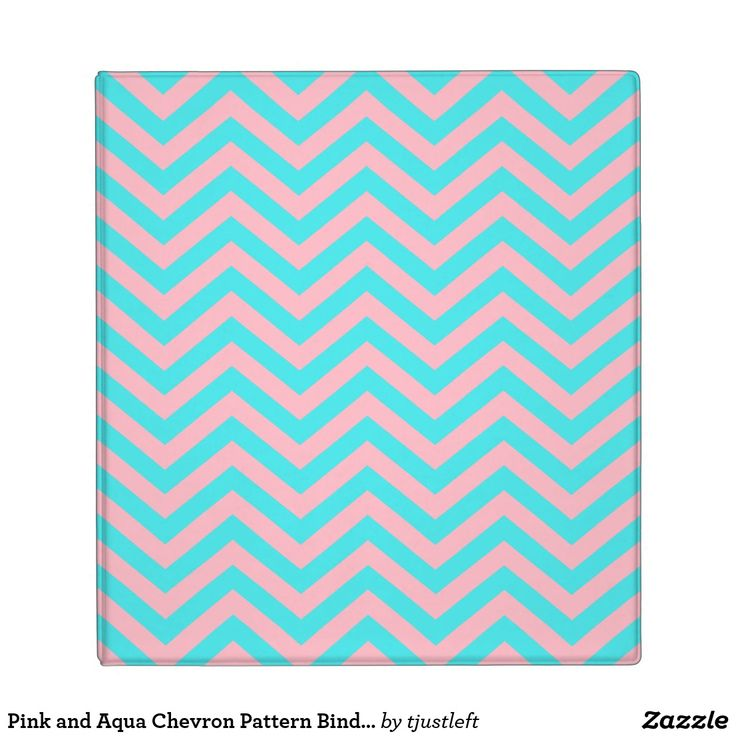 Pink and Aqua Chevron Pattern Binder