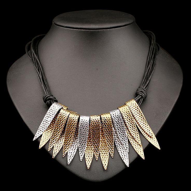 European Punk Style Retro Acrylic Imitation Diamond-encrusted Tassel Necklace Exaggerated Necklace Collares Populares Collane