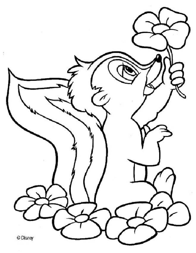 Flower The Skunk Coloring Pages Cartoon Coloring Pages Disney Coloring Pages Flower Coloring Pages