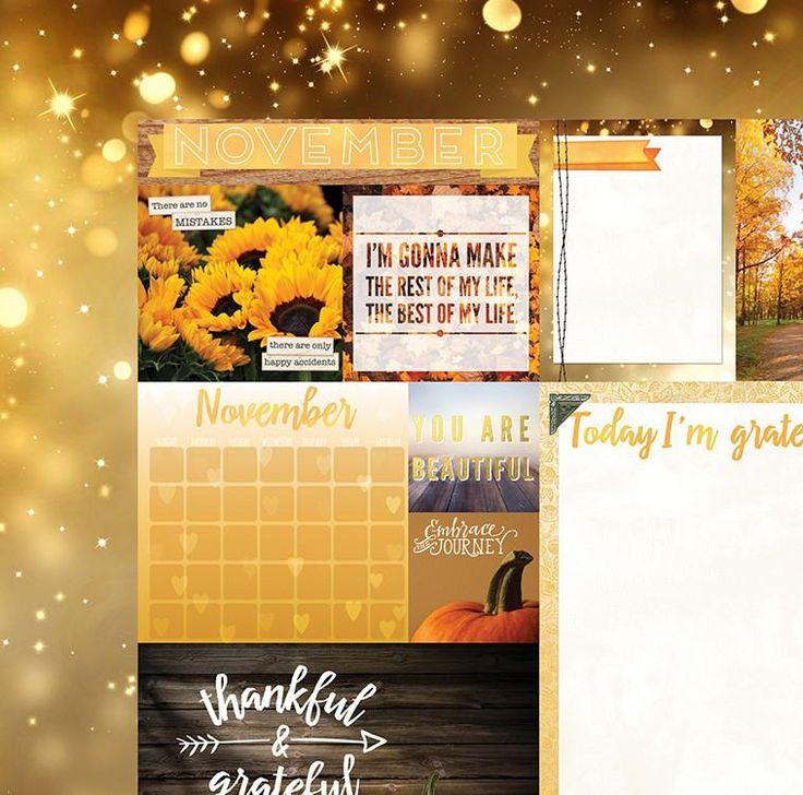 November Calendar Girl 12x12 Scrapbook Paper - 5 Sheets by Bo Bunny