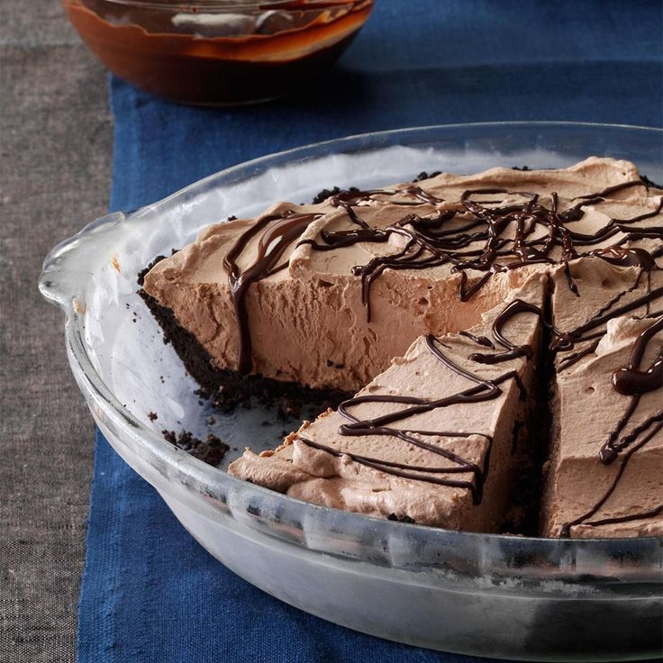 Smooth Chocolate Pie Recipe -My mom and I made this chocolate pie, just the two of us, and our whole family got to enjoy it. We think you will, too. —Steve Riemersma, Allegan, Michigan