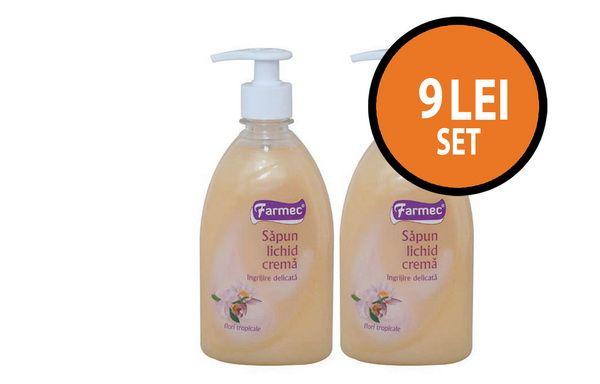 Cine te rasfata in fiecare zi? Doua flacoane de sapun lichid Farmec Flori tropicale la pretul de 9 lei + TVA!