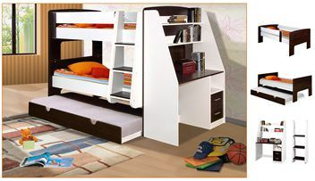 California Bunk Beds With Trundle Bed & Desk