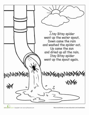 Preschool Fairy Tales Nursery Rhymes Worksheets: The Itsy Bitsy Spider: Rhyme Coloring Page
