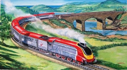 Mallard train painted in Virgin colours. Private commission by Graham Bleathman. www.grahambleathman.co.uk