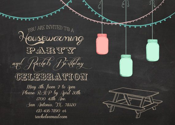 Housewarming and/or birthday party outdoor BBQ invitation 5x7 via Etsy @SprinkleLine