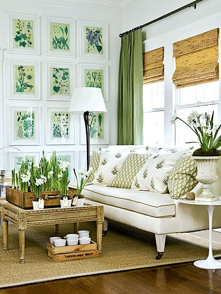 linen window treatments, vintage floral book prints are inexpensive art, crate for paperwhites, pillows