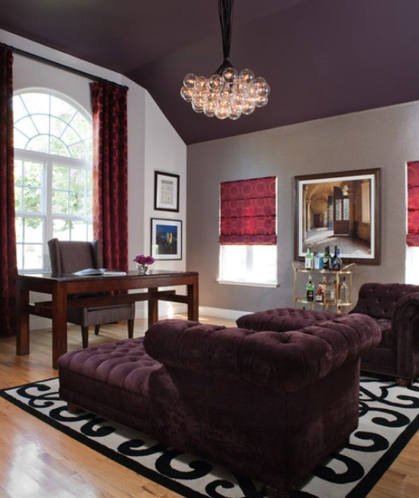 Tufted purple velvet double chaise with a purple ceiling....OMG!