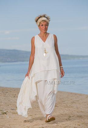 Tunique courte déstructurée en soie naturelle for a casual wedding or a hot summer party-:- AMALTHEE CREATIONS-:- n° 3421