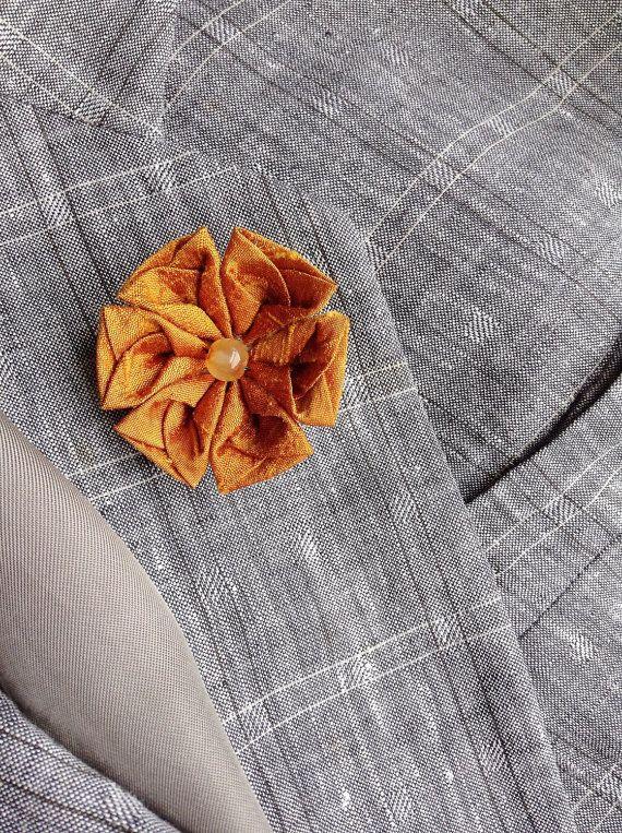 Lapel Flower Pin Ocher Silk Kanzashi Mens Custom Boutonniere