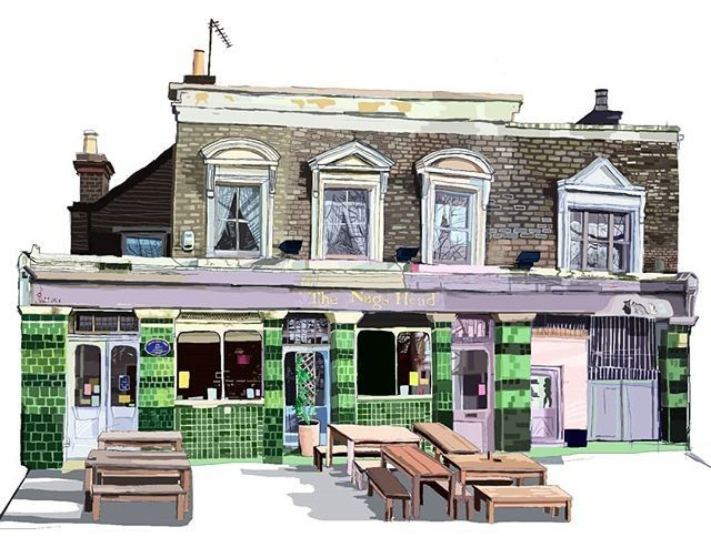 New designers : via Tomartacus Our latest print of The Nags Head Walthamstow #market #shoplocal #e17 #boroughofculture #whatsonlondon #eastlondon #makers #creatives #art #orfordroad #walthamstowvillage #localbusiness #london #lovelondon #londonist #E17designers #londonpub #pub #beergarden #englishpub #tomartacus #instaartist #instahome #doodle #sketchbook #walthamstow #walthamforest #londontown #londoners : @tomartacus