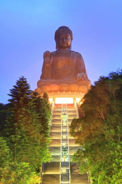 Great Buddha at Po Lin Temple, landmark in Hong Kong at twilight