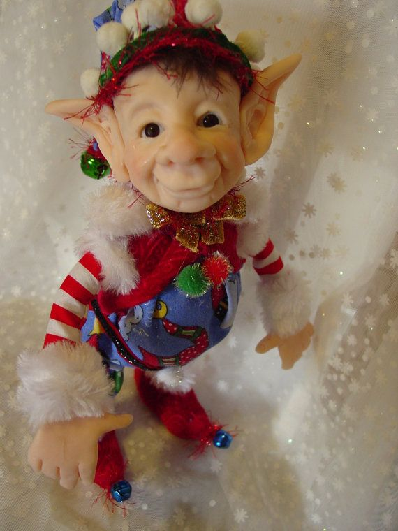 Christmas Elf Doll sit them on a shelf or stand them by Dinglebee