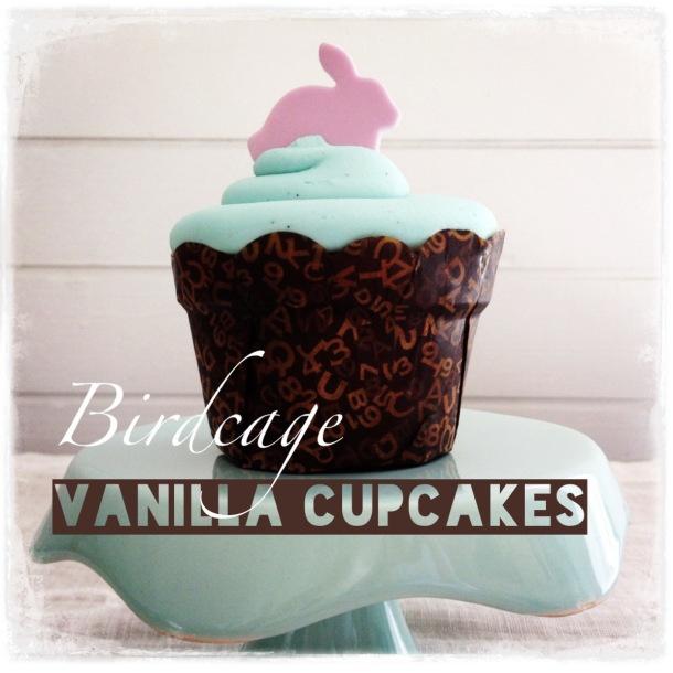 Birdcage Tea Bar - Vanilla cupcake with pink fondant cupcakes