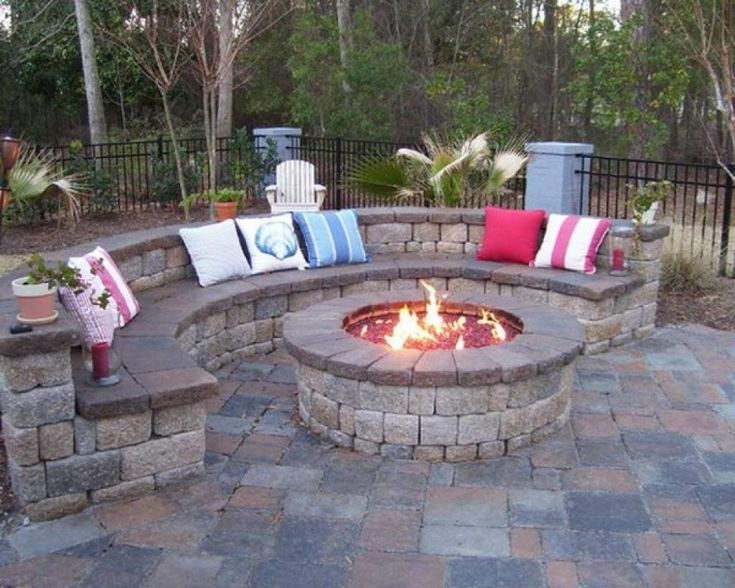 Outdoor, Colorful Toss Pillows With Stone Circular Bench For Excellent Patio Ideas On A Budget With Round Fire Pit: Frugal Patio Ideas with Fire Pit on a Budget