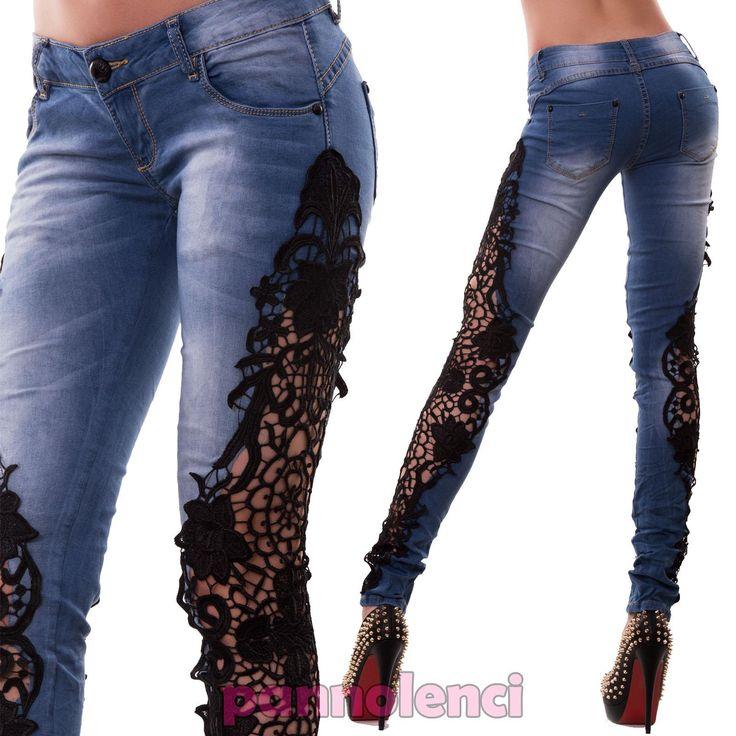 Jeans-donna-pantaloni-elasticizzati-skinny-PIZZO-floreale-ricamo-nuovi-M9962