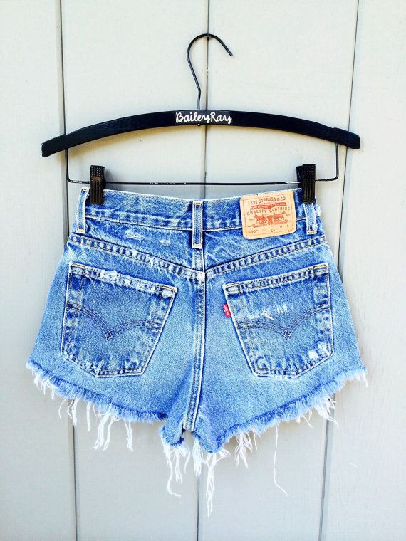 Levi High Waisted Denim Shorts CutOffs  Cheeky by BaileyRayDenim