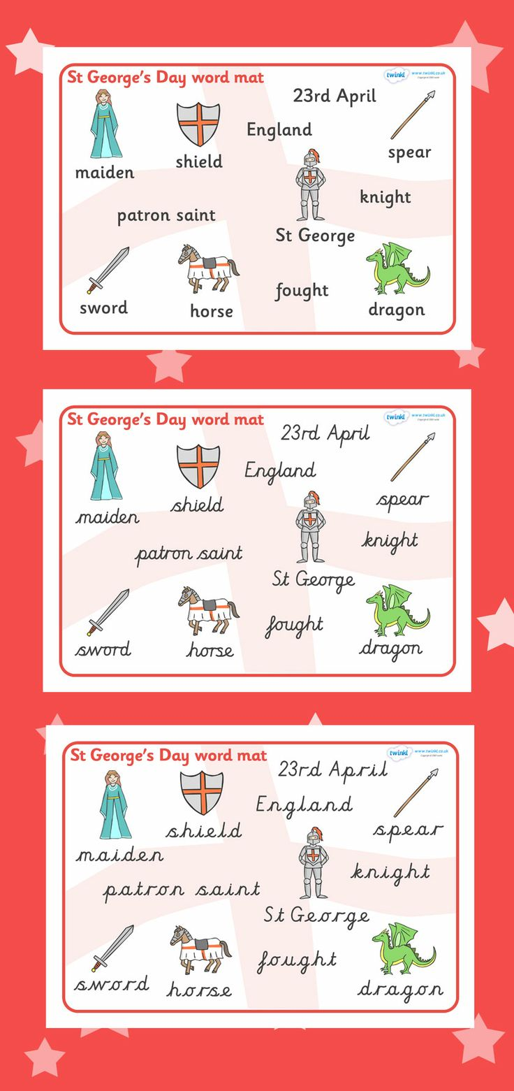 St. George's Day Word Mat
