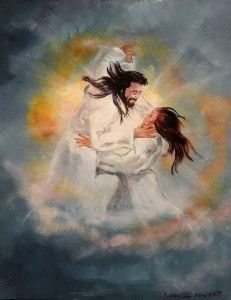 Shall we dance? Jesus and Bride of Christ dancing. Prophetic art painting.