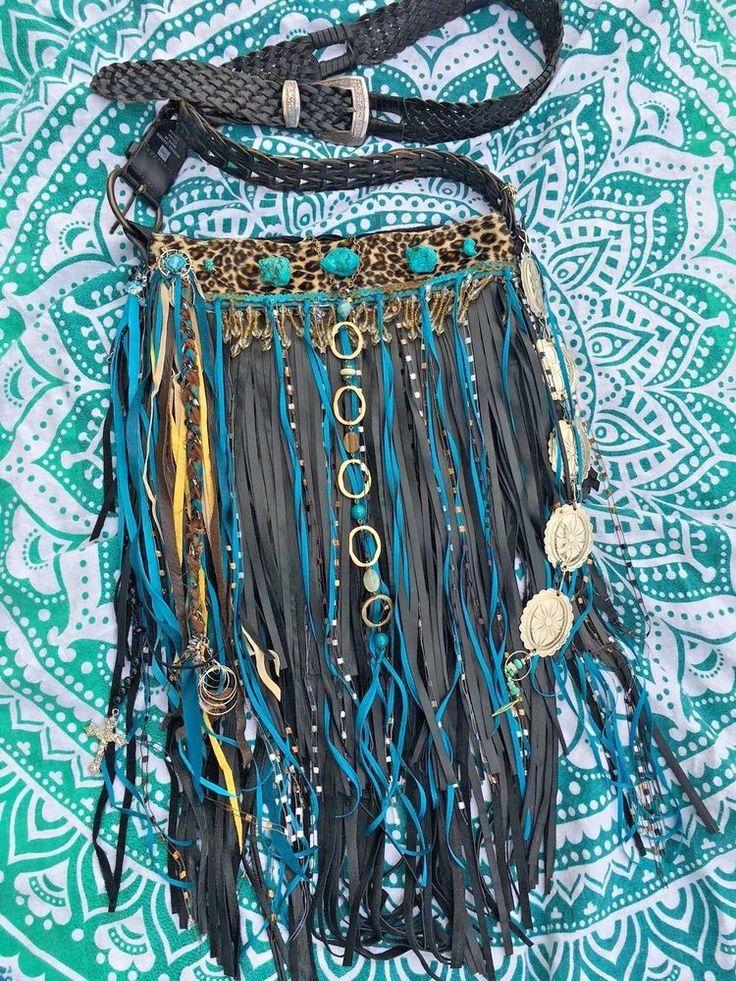 Handmade Black Leather Fringe Bag W Leopard fbrc.Turquoise & Silver Jewels B.Joy   eBay