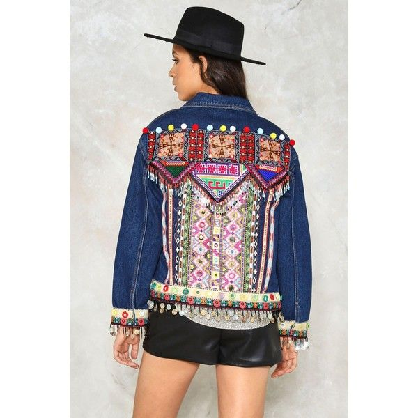 Nasty Gal Beads Me Denim Jacket ($100) ❤ liked on Polyvore featuring outerwear, jackets, multi, multi coloured jacket, nasty gal, colorful denim jackets, jean jacket and multi colored jacket