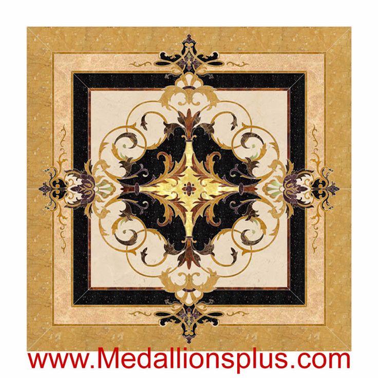 Acrylic Floor Inlays : Neptune square quot waterjet stone floor inlay