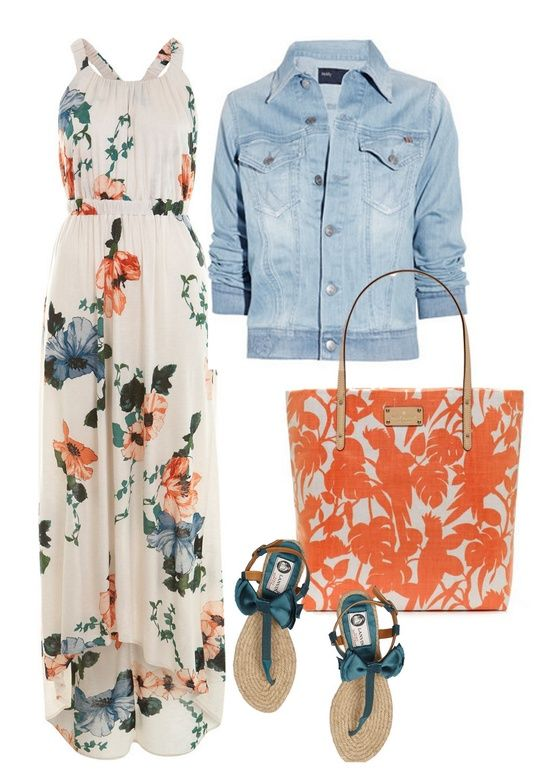 Long flower dress, jean jacket - spring and summer outfit