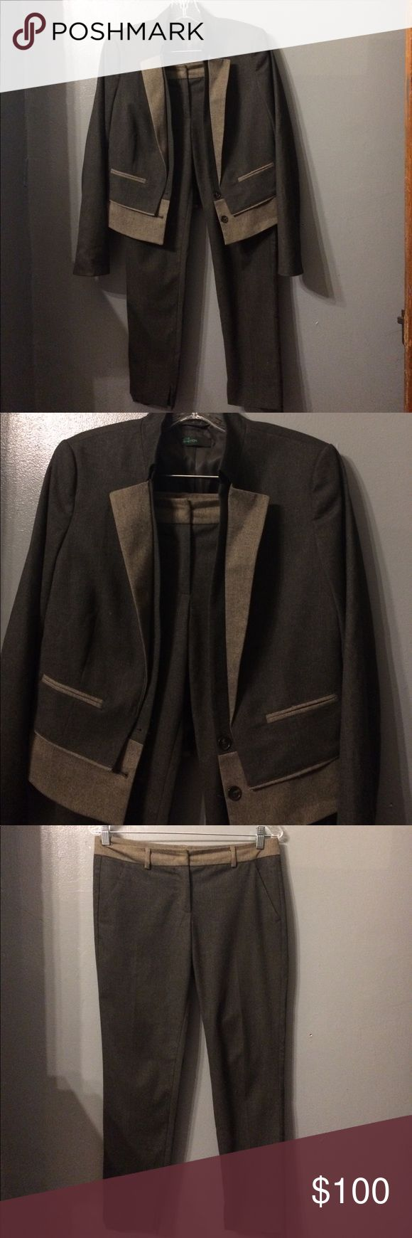 Two-toned Ladies Suit 👓👜👠 Amazing two toned gray suit by United Colors of Benetton. Very sharp, deal closing detail.  Crop trousers, waist length jacket, best paired with white or black cami underneath. Left leg needs hemmed a little, otherwise perfect condition. United Colors Of Benetton Other