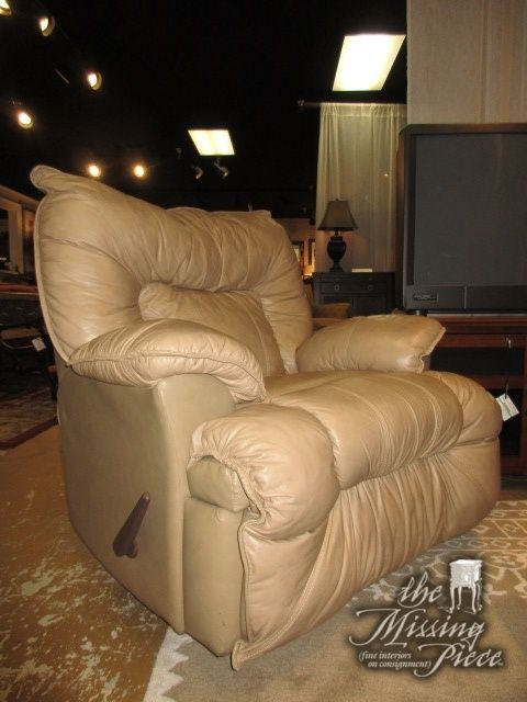 "Franklin rocker recliner chair in tan. An ideal find for a traditional style home. What a plush, comfortable seat! Measures 41""wide x 33""deep x 38""high."